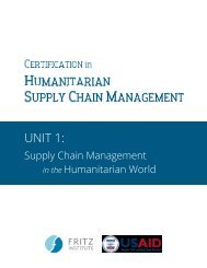 CHSCM 3.0 - Unit 1 - SCM in the Humanitarian World
