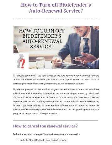 How to Turn off Bitdefender's Auto-Renewal Service?