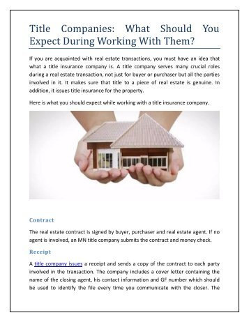 Title Companies: What Should You Expect During Working With Them?