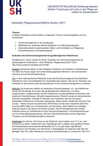 Newsletter 1. Quartal 2011 - Pflegeforschung