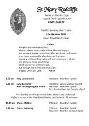 St Mary Redcliffe Church Pew Leaflet - September 3 2017