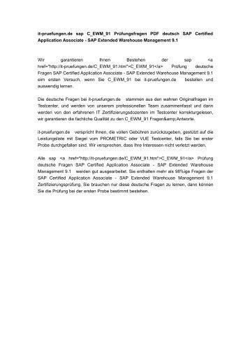 C_EWM_91 Prüfungsfragen PDF deutsch