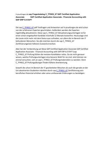 Fragenkatalog C_TFIN52_67