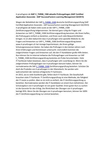 C_THR88_1508 aktuelle Prüfungsfragen