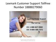 Lexmark Customer Support Tollfree Number 18888279060