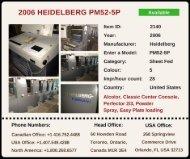 Buy Used 2006 PM52-5P HEIDELBERG Printing Press Machine