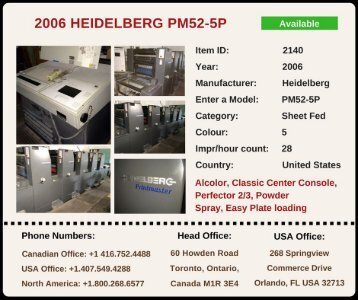 Buy Used 2006 PM52-5P HEIDELBERG Printing Press Machine