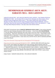 BANTU MEMBONGKAR SINDIKAT SARACEN MCA DAN LAINNYA