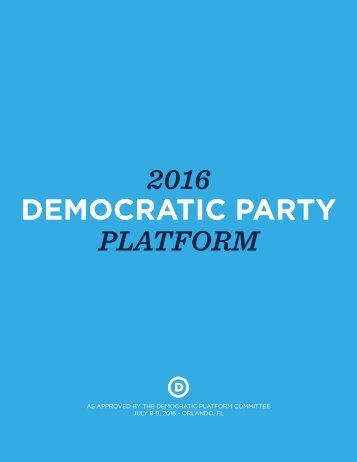 BEFORE YOU VOTE LOCALLY DEMOCRAT PLATFORM 2016