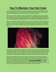 Tips To Maintain Your Hair Color