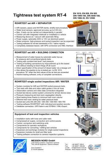Waste water systems tightness test systen ROHRTEST-4