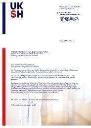 Programm Arzt-Patienten-Symposium Organtransplantation