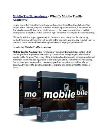 Mobile Traffic Academy review demo and premium bonus