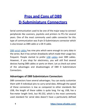Pros and Cons of DB9 D-Subminiature Connectors