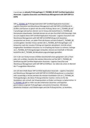 aktuelle Prüfungsfragen C_TSCM66_66