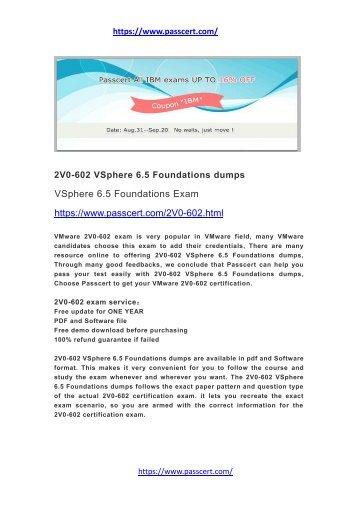 2V0-602 VSphere 6.5 Foundations dumps