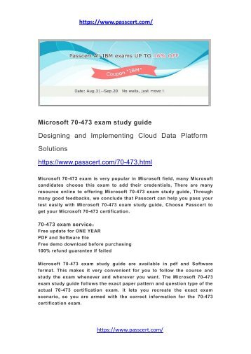 Microsoft 70-473 exam study guide