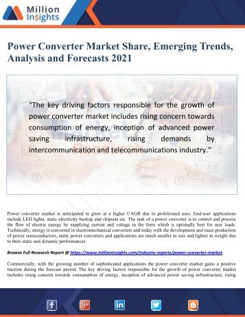Power Converter Market Share, Emerging Trends, Analysis and Forecasts 2021