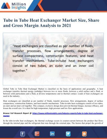 Tube in Tube Heat Exchanger Market Size, Share and Gross Margin Analysis to 2021