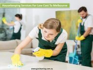 Housekeeping Services For Low Cost To Melbourne