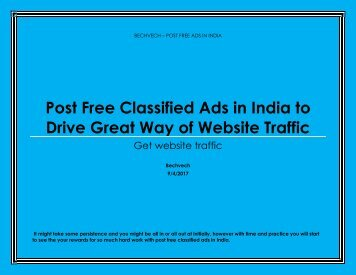 Post Free Classified Ads in India to Drive Great Way of Website Traffic