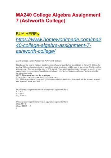 MA240 College Algebra Assignment 7 (Ashworth College)