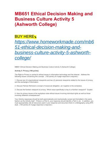 MB651 Ethical Decision Making and Business Culture Activity 5 (Ashworth College)