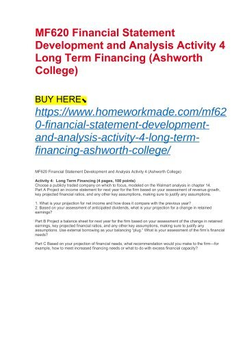 MF620 Financial Statement Development and Analysis Activity 4 Long Term Financing (Ashworth College)