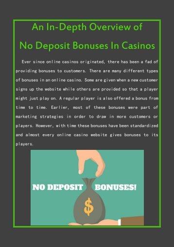 An In-Depth Overview of No Deposit Bonuses In Casinos