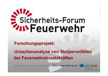 Ursachenanalyse von Stolperunfällen bei ... - Unfallkasse NRW