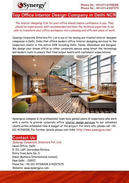 Top Office Interior Design Company In Delhi Ncr