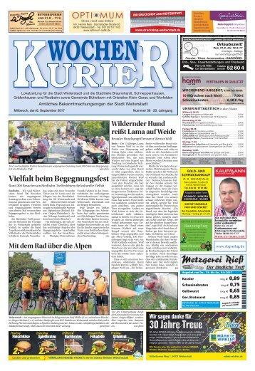 Wochen-Kurier 36/2017 - Lokalzeitung für Weiterstadt und Büttelborn