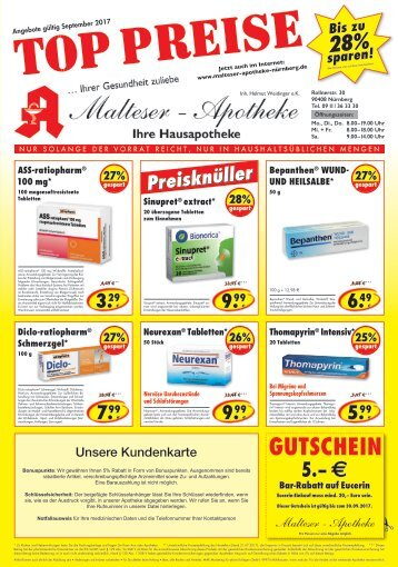 Angebote der Malteser Apotheke in Nürnberg