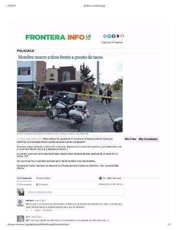 Asesinato a Plena Luz del Día en Colinas de California La Rioja Residencial Tijuana Vecino Acribillado con Cuerno de Chivo