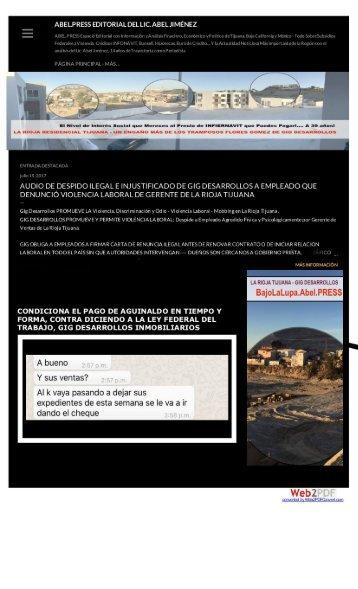 GIG Desarrollos Inmobiliarios Protege a Golpeador y Extorsionador de Empleados de La Rioja Residencial Tijuana Alfredo Rocha