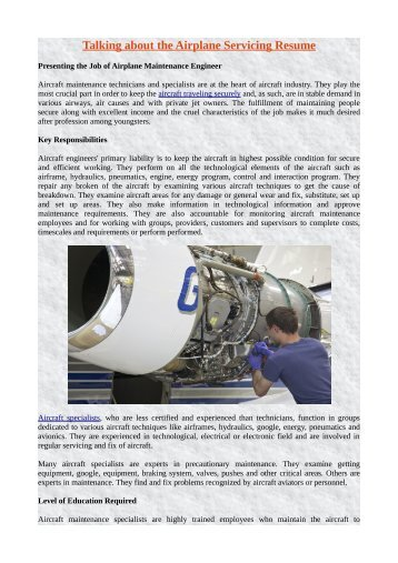 Talking about the Airplane Servicing Resume