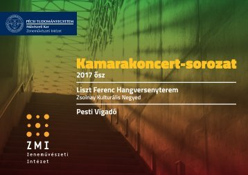 PTE MK ZMI Kamarakoncert-sorozat 2017 ősz