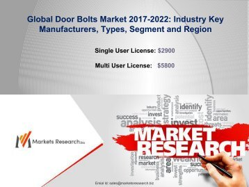 2017-2022 Global Door Bolts Market: Size, Share, Forecast