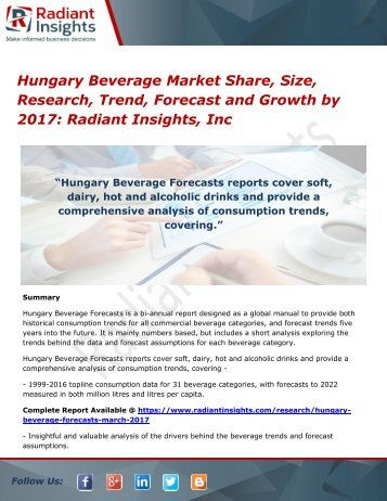 Hungary Beverage Market Share, Size, Research, Trend, Forecast and Growth by 2017 Radiant Insights, Inc