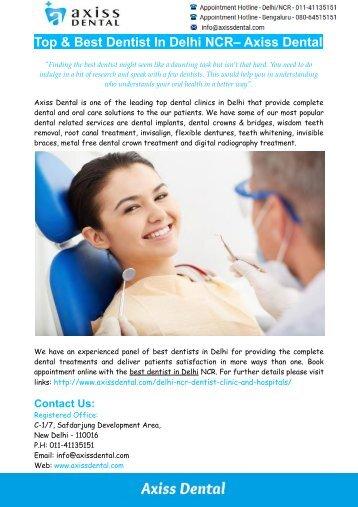 Best Dentist In Delhi NCR– Axiss Dental