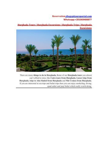 Luxury Places to Visit and Get Enjoyable Time in There | Hurghada Tours