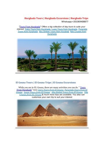 Hurghada Tours | Tours from Hurghada | Hurghada Excursions