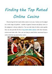 Finding the Top Rated Online Casino