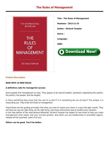 Downloads The Rules of Management Free Premium Books 2017