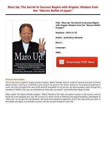 Free Downloads E-Book Maro Up  The Secret to Success Begins with Arigato  Wisdom from the Warren Buffet of Japan Latest Books