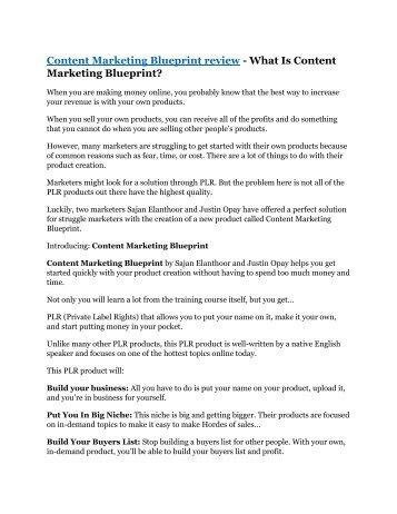 Content Marketing Blueprint review - Content Marketing Blueprint $27,300 bonus & discount