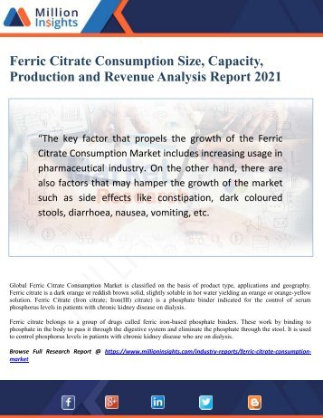 Ferric Citrate Consumption Market Size, Capacity, Production and Revenue Analysis Report 2021