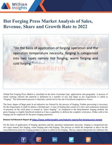 Hot Forging Press Market Analysis of Sales, Revenue, Share and Growth Rate to 2022