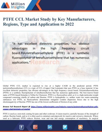 PTFE CCL Market Study by Key Manufacturers, Regions, Type and Application to 2022