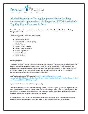Alcohol Breathalyzer Testing Equipment Market Evolving Technology, Trends, Key market segments and industry Analysis